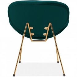 Shelly Velvet Accent Chair - Teal/ Brass Legs Rear View