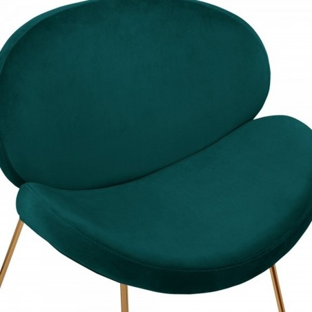 Shelly Velvet Accent Chair - Teal/ Brass Legs Seat Detail