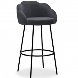 Arora Velvet Bar Stool - Charcoal Grey/ Black Legs
