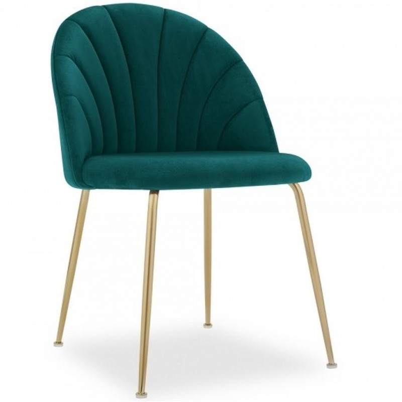 Stellia Velvet Dining Chair - Teal/ Brass Legs