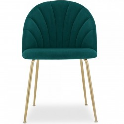 Stellia Velvet Dining Chair - Teal/ Brass Legs Front View