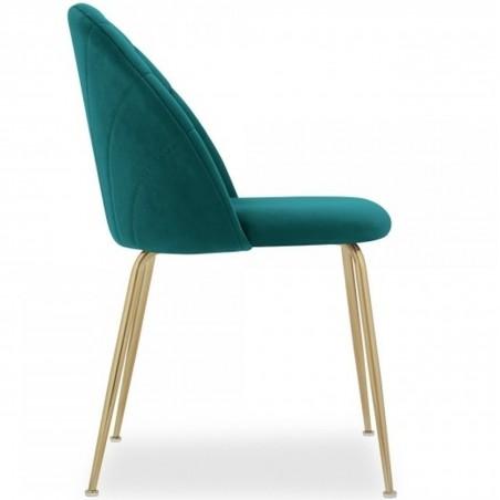 Stellia Velvet Dining Chair - Teal/ Brass Legs Side View