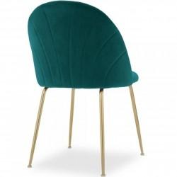 Stellia Velvet Dining Chair - Teal/ Brass Legs Angled Rear View