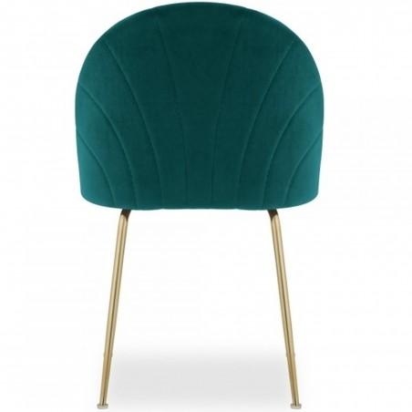 Stellia Velvet Dining Chair - Teal/ Brass Legs Rear View