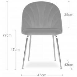 Stellia Velvet Dining Chair - Dimensions