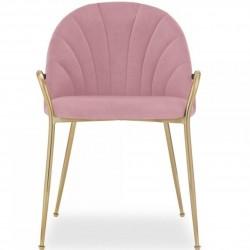 Stellia Velvet  Dining Armchair - Blossom Pink Front View