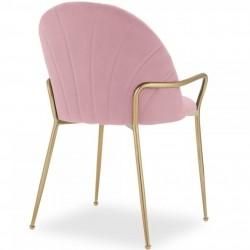 Stellia Velvet  Dining Armchair - Blossom Pink Angled Rear View