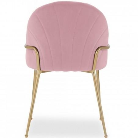 Stellia Velvet  Dining Armchair - Blossom Pink Rear View