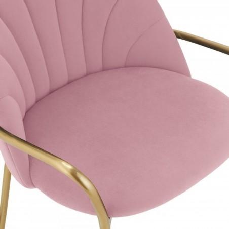 Stellia Velvet  Dining Armchair - Blossom Pink Seat Detail
