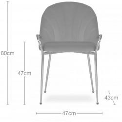 Stellia Velvet  Dining Armchair - Dimensions