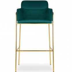 Esmond Velvet Bar Stool - Teal Front View