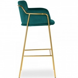 Esmond Velvet Bar Stool - Teal Side View