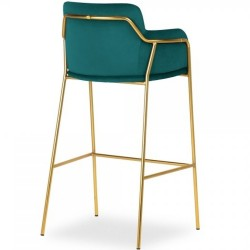 Esmond Velvet Bar Stool - Teal Angled Rear View