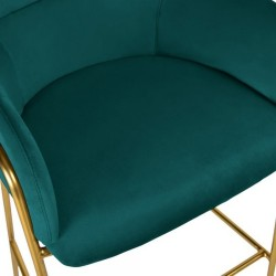 Esmond Velvet Bar Stool - Teal Seat Detail