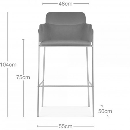 Esmond Velvet Bar Stool - Dimensions