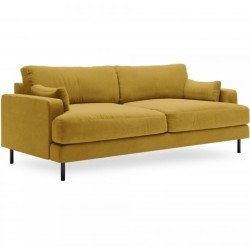 Brent Three Seater Velvet Sofa - Mustard