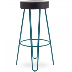 Jessie Faux Leather Seat 76cm Bar Stool - Teal Side View
