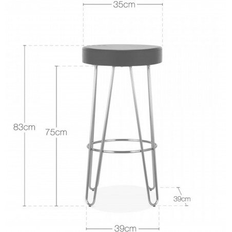 Jessie Faux Leather Seat Bar Stool - 76cm Dimensions
