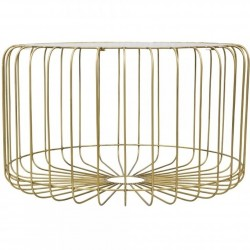 Sorriso Round Birdcage Glass Top Coffee Table
