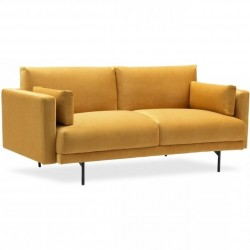 Puriton Two Seater Velvet Sofa - Mustard