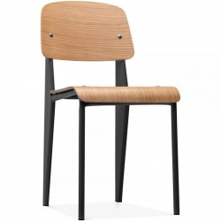 Alton Wooden School Style Chair in black, angle view