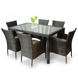Windsor Six Seater Outdoor Dining Set with a glass top taken from above