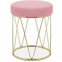 Hattie Velvet Geometric Footstool - Blossom Pink