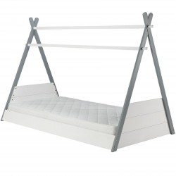 Yaxley Teepee Bed in white and grey, angle view