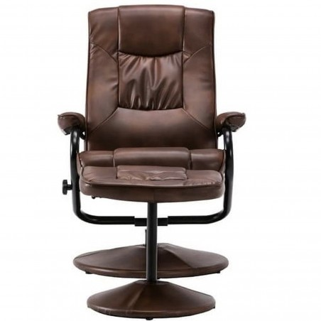 Sloan Swivel Chair and Footstool in tan, front view