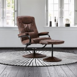 Sloan Swivel Chair and Footstool in tan, angle mood view