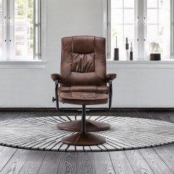 Sloan Swivel Chair and Footstool in tan, front mood view