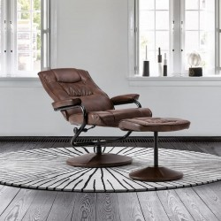 Sloan Swivel Chair and Footstool in tan, reclined mood view