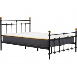 Alta Vintage Style Metal Double Bed - Black