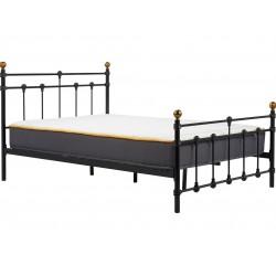 Alta Vintage Style Metal Double Bed - Black