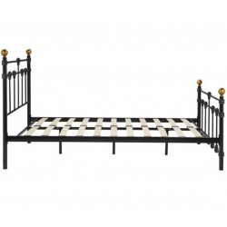 Alta Vintage Style Metal Double Bed - Black Side View