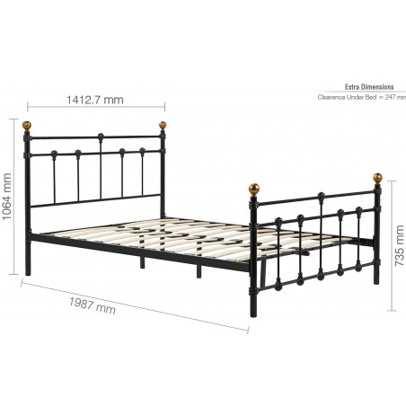 Alta Vintage Style Metal Double Bed - Double Dimensions
