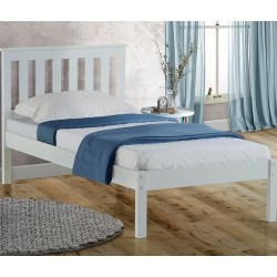 Denbar Wooden Bed Frame Single White  Angled view