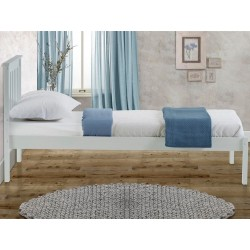 Denbar Wooden Bed Frame Single White Side View
