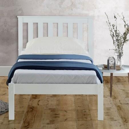 Denbar Wooden Bed Frame Single White Front View