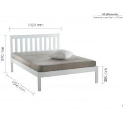 Denbar Wooden Bed Frame Single White Dimensions
