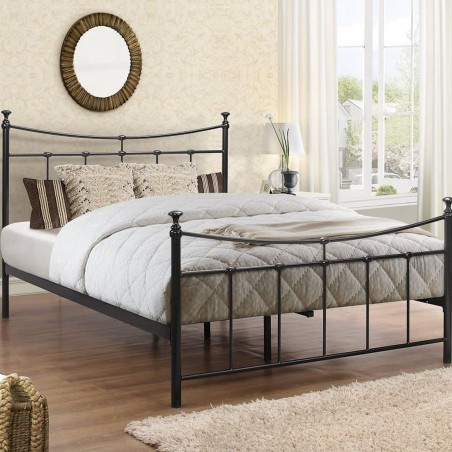 Emma Vintage Style Metal Bed Double -Black Angled View