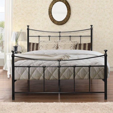 Emma Vintage Style Metal Bed Double -Black Front View