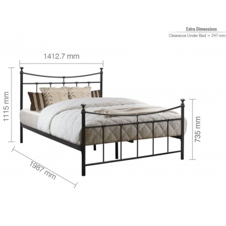 Emma Vintage Style Metal Bed  -Black Double Dimensions