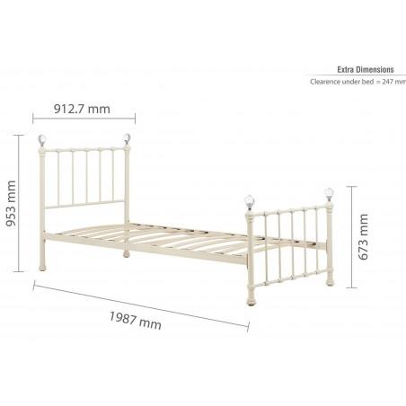 Jess Vintage Style Single Bed Frame  - Dimensions