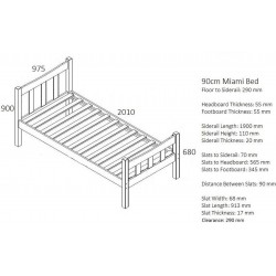 Miami Wooden Bed Frame- Single Dimensions