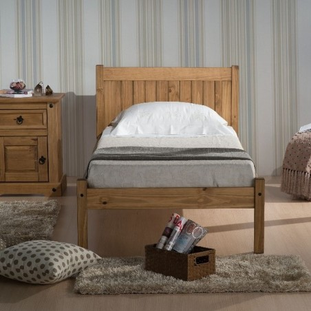 Palmetto Wooden Bed Frame Single Pine Mood Shot