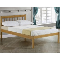 Pavuna Wooden Bed Frame - Double Angled View