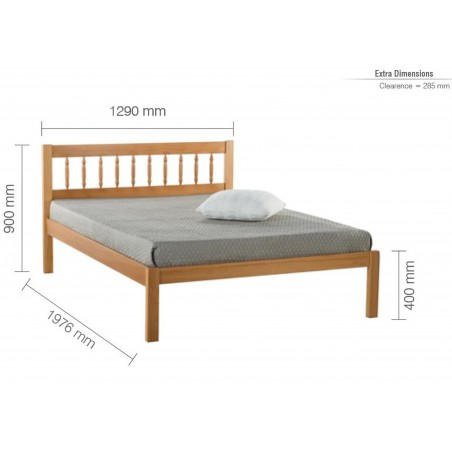 Pavuna Wooden Bed Frame - Small Double Dimensions