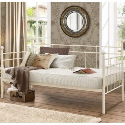 Leon Classic Metal Daybed - Cream Angled View