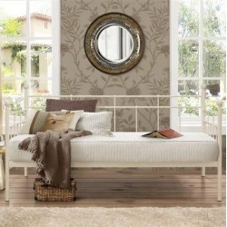 Leon Classic Metal Daybed - Cream Front View